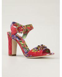 Dolce & Gabbana | Red Embellished Brocade Pumps | Lyst