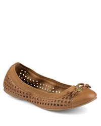 Sperry Top-Sider - Brown Elise Perforated Leather Flats - Lyst