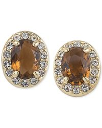 Carolee | Gold-tone Brown Crystal Stud Earrings | Lyst