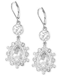 Nine West | Metallic Silver-Tone Crystal Large Drop Leverback Earrings | Lyst
