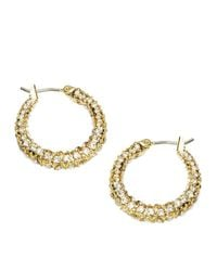 ABS By Allen Schwartz | Metallic Pave Huggie Hoop Earrings 0.75in | Lyst
