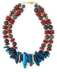 Katerina Psoma - Red Double Layer Stone Necklace - Lyst