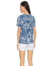 Tory Burch - Blue Floral Print T-shirt - Lyst