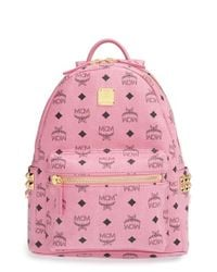 MCM - Pink 'small Stark' Side Stud Backpack - Lyst
