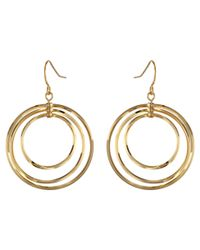 Lauren by Ralph Lauren | Metallic Small Round Bevel Ring Gypsy Hoop Earrings | Lyst
