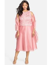 Alex Evenings - Pink Sleeveless Rosette Bodice Dress With Shawl - Lyst