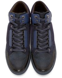 Lanvin | Blue Navy & Black Mid-top Sneakers for Men | Lyst