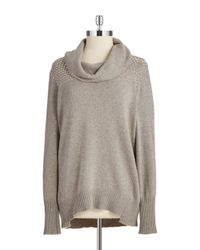 DKNY | Gray Studded Yoke Cowlneck Sweater | Lyst