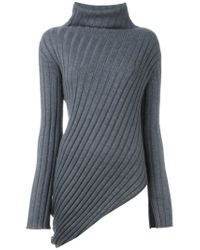 JOSEPH - Gray Ribbed Asymmetric Sweater - Lyst