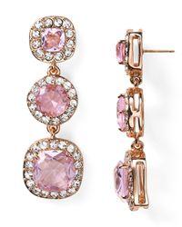 kate spade new york - Pink Basket Pave Drop Earrings - Lyst