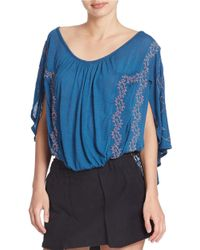 Free People - Blue Caped Floral Stitch Top - Lyst