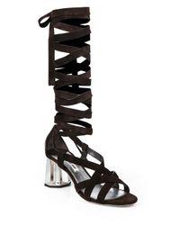 Miu Miu - Brown Suede Mirrored Heel Sandals - Lyst