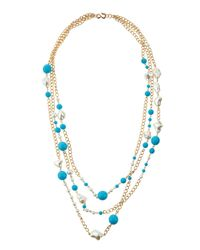 Kenneth Jay Lane - Blue Three-row Turquoise-hue & Pearly Bead Necklace - Lyst