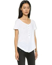 Free People | White Weekend Henley Tee - Shark | Lyst