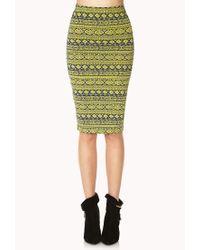 Forever 21 - Green Bold Tribal Print Midi Skirt - Lyst