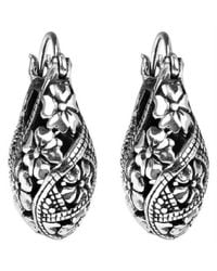 Aeravida - Metallic Gorgeous Floral V-lock Hoop Sterling Silver Earrings - Lyst