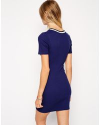 ASOS - Blue Bodycon Dress With Suspended Print And Trim - Lyst