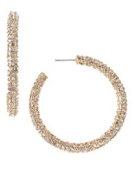 Fragments | Metallic Rhinestone Hoops Gold | Lyst
