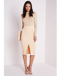 Missguided - Natural Front Split Bodycon Midi Skirt Camel - Lyst