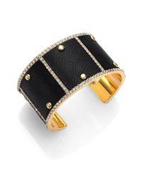 ABS By Allen Schwartz - Black Sensation PavÉ Leather Studded Cuff Bracelet - Lyst