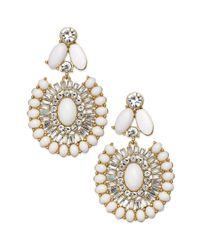 kate spade new york - Metallic New York Goldtone Capri Garden White Statement Earrings - Lyst