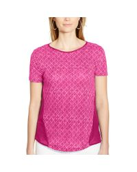 Ralph Lauren | Pink Paneled Linen-cotton Tee | Lyst