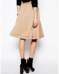 ASOS - Brown Midi Skirt in Scuba with Zips - Lyst