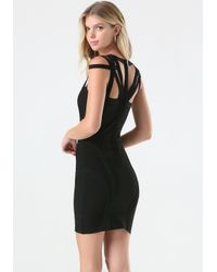 Bebe | Black Amanda Cage Bandage Dress | Lyst