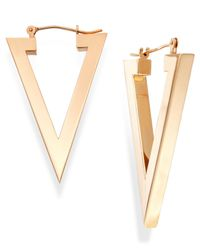 Macy's | Metallic Triangle Hoop Earrings In 14k Gold | Lyst