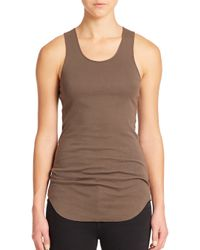 Helmut Lang | Brown Cotton Ribbed Racerback Tank | Lyst