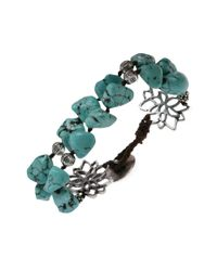 Lucky Brand - Blue Silvertone Semiprecious Turquoise Doublelayer Bracelet - Lyst