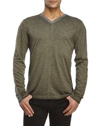 DKNY | Green V-Neck Slub Knit Long Sleeve Tee for Men | Lyst