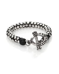 King Baby Studio | Metallic Leather & Silver Snake Link Bracelet for Men | Lyst