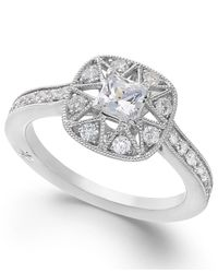 Marchesa - Antique Star By Certified Diamond Engagement Ring In 18k White Gold (7/8 Ct. T.w.) - Lyst