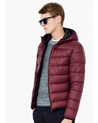 Mango | Purple Quilted Hooded Coat for Men | Lyst