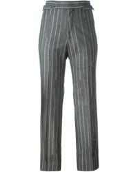Vivienne Westwood - Gray Pinstriped Cropped Trousers - Lyst