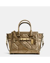 COACH | Brown Swagger 27 Carryall In Metallic Patchwork Leather | Lyst