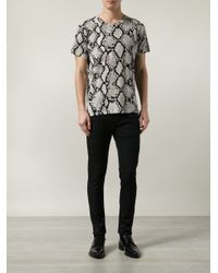 Saint Laurent - Gray Python-Print T-Shirt for Men - Lyst