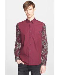 Versace Jeans - Purple Trim Fit Sleeve Print Sport Shirt for Men - Lyst