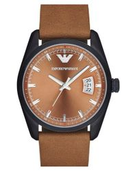 Emporio Armani - Brown Leather Strap Watch for Men - Lyst