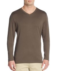Robert Barakett | Brown Georgia V-neck Long Sleeve Cotton Tee for Men | Lyst