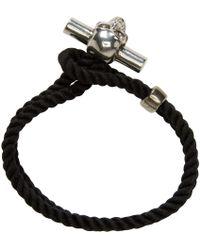 Alexander McQueen - Metallic Black Skull Rope Bracelet for Men - Lyst