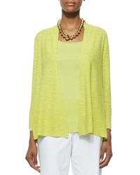 Eileen Fisher - Yellow 3/4-sleeve Organic Linen Cotton Cardigan - Lyst