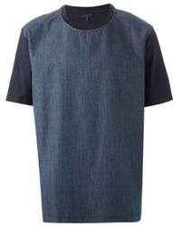 Lanvin | Blue Denim Panel T-Shirt for Men | Lyst