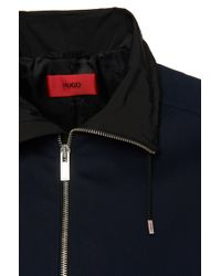 HUGO | Blue Regular Fit Cotton Jacket: 'agidius' for Men | Lyst