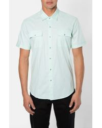 7 Diamonds | Green 'american Band' Trim Fit Cotton Sport Shirt for Men | Lyst