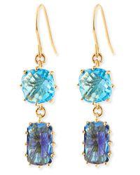 KALAN by Suzanne Kalan | 14k Yellow Gold Wire Double-drop Earrings In Blue Topaz | Lyst
