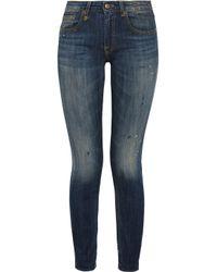 R13 - Blue Kate Skinny Mid-Rise Stretch-Denim Jeans - Lyst