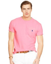 Polo Ralph Lauren | Pink Classic-Fit Neon Jersey Pocket Crewneck for Men | Lyst