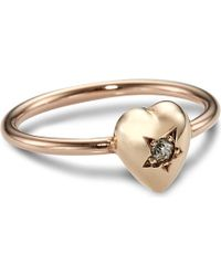 Annina Vogel - Natural 9ct Rose-gold Diamond Star Heart Ring - Lyst